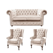 Chesterfield 2 Seater Sofa + 2 x Mallory Wing Chair Harmony Ivory Velvet Sofa Suite Offer