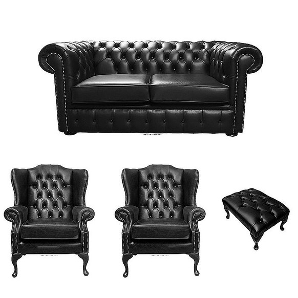 Chesterfield 2 Seater Sofa + 2 x Mallory Wing Chairs + Footstool Old English Black Leather Sofa Offer