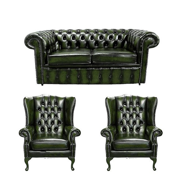Chesterfield 2 Seater Sofa + 2 x Mallory Wing Chairs Leather Sofa Suite Offer Antique Green