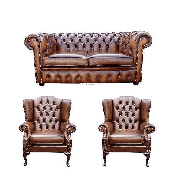 Chesterfield 2 Seater Sofa + 2 x Mallory Wing Chairs Leather Sofa Suite Offer Antique Tan
