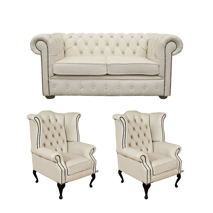 Chesterfield 2 Seater Sofa + 2 X Queen Anne Chairs Leather