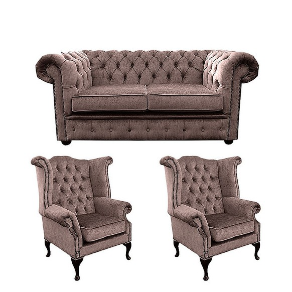 Chesterfield 2 Seater Sofa + 2 x Queen Anne Wing Chairs Harmony Charcoal Velvet Sofa Suite Offer