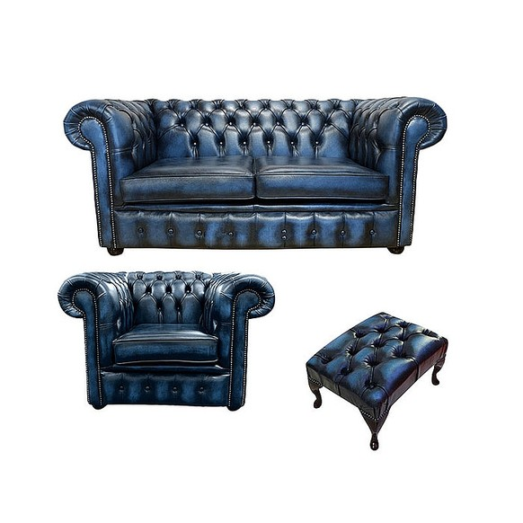 Chesterfield 2 Seater Sofa + Club Chair + Footstool Leather Sofa Suite Offer Antique blue