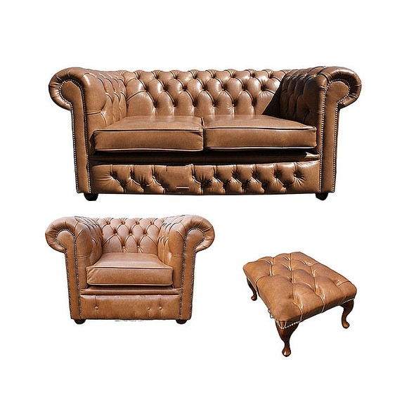 Chesterfield 2 Seater Sofa + Club Chair + Footstool Old English Tan Leather Sofa Offer