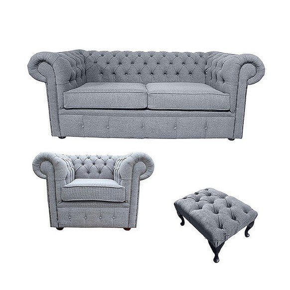 Chesterfield 2 Seater Sofa + Club Chair + Footstool Verity Plain Steel Fabric Sofa Suite Offer
