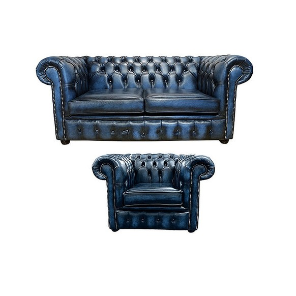Chesterfield 2 Seater Sofa + Club Chair Leather Sofa Suite Offer Antique blue