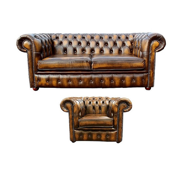 Chesterfield 2 Seater Sofa + Club Chair Leather Sofa Suite Offer Antique Gold