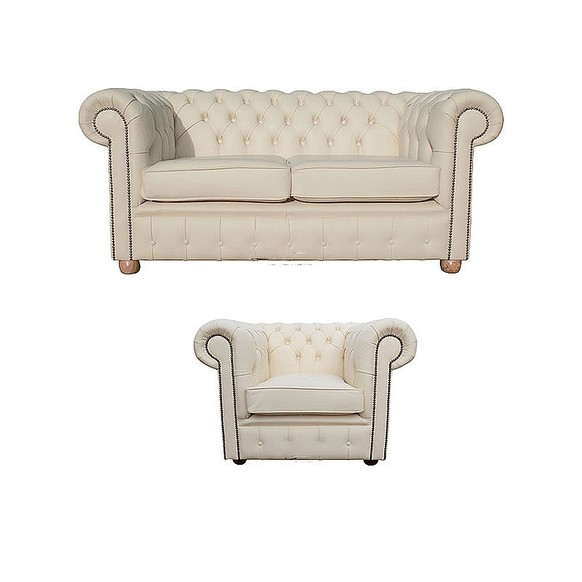 Chesterfield 2 Seater Sofa + Club Chair Leather Sofa Suite Offer Cottonseed Cream
