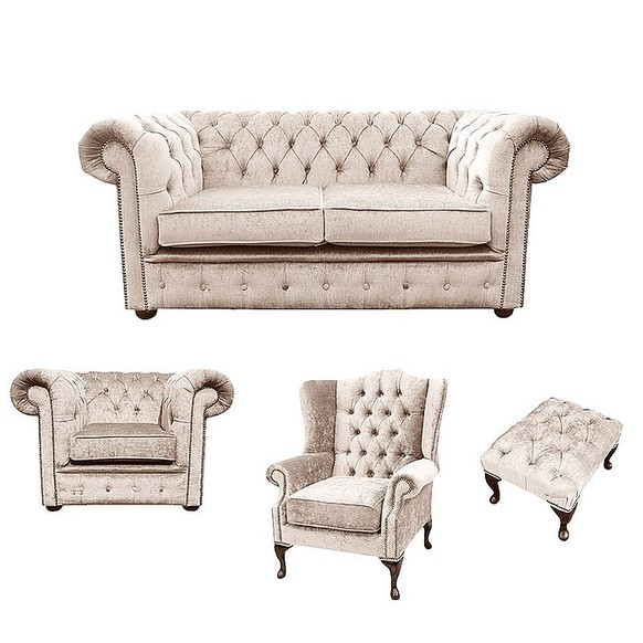 Chesterfield 2 Seater Sofa + Club Chair + Mallory Wing Chair+Footstool Harmony Ivory Velvet Sofa Suite Offer
