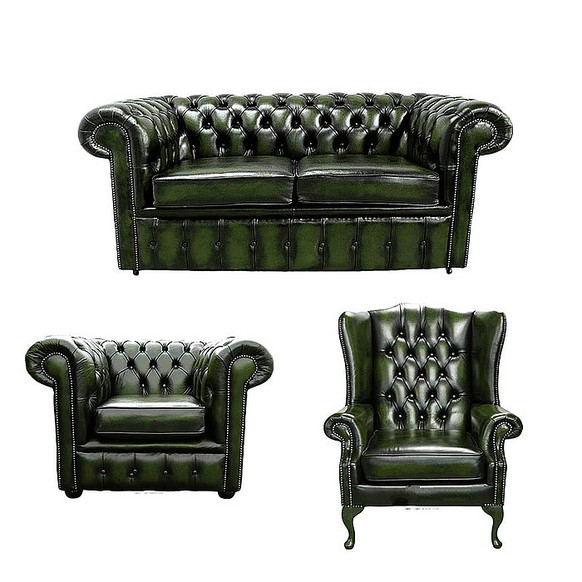 Chesterfield 2 Seater Sofa + Club Chair + Mallory Wing Chair Leather Sofa Suite Offer Antique Green