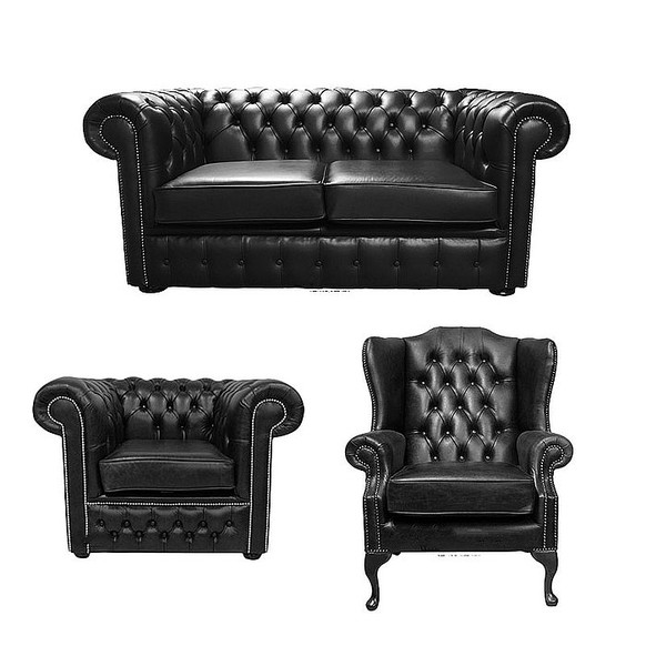Chesterfield 2 Seater Sofa + Club Chair + Mallory Wing Chair Old English Black Leather Sofa Offer