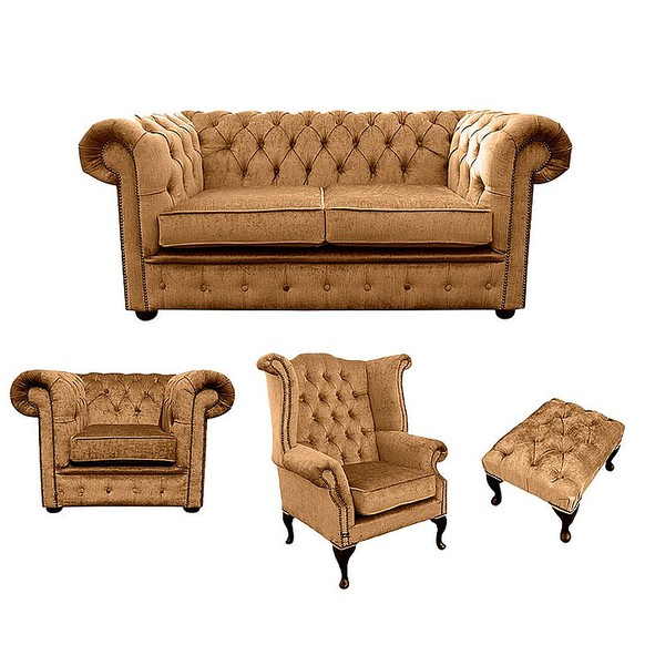 Chesterfield 2 Seater Sofa + Club Chair + Queen anne chair+Footstool Harmony Gold Velvet Sofa Suite Offer