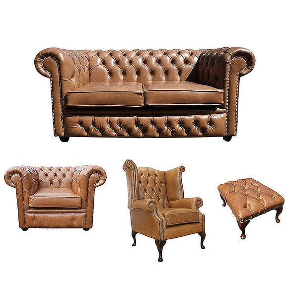 Chesterfield 2 Seater Sofa + Club Chair + Queen Anne Chair + Footstool Old English Tan Leather Sofa Offer
