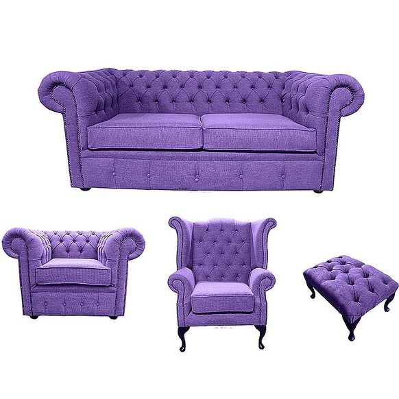 Chesterfield 2 Seater Sofa + Club Chair + Queen anne chair+Footstool Verity Purple Fabric Sofa Suite Offer