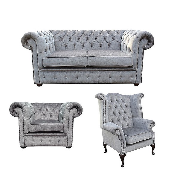 Chesterfield 2 Seater Sofa + Club Chair + Queen anne chair Harmony Dusk Velvet Sofa Suite Offer