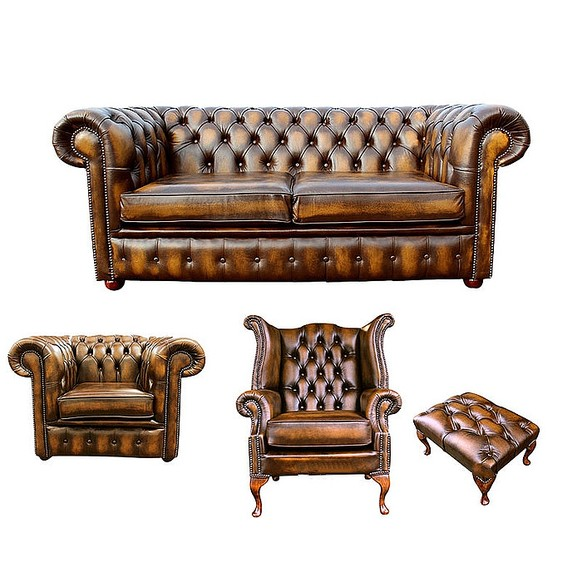 Chesterfield 2 Seater Sofa + Club Chair + Queen Anne Wing Chair + Footstool Leather Sofa Suite Offer Antique Gold