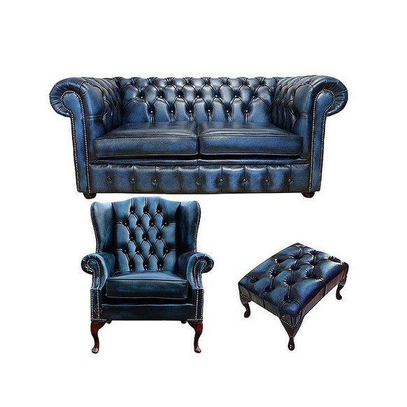 Chesterfield 2 Seater Sofa + Mallory Wing Chair + Footstool Leather Sofa Suite Offer Antique Blue