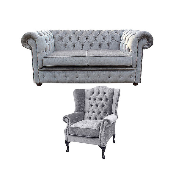 Chesterfield 2 Seater Sofa + Mallory Wing Chair Harmony Dusk Velvet Sofa Suite Offer