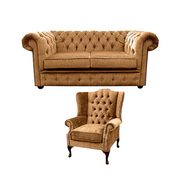 Chesterfield 2 Seater Sofa + Mallory Wing Chair Harmony Gold Velvet Sofa Suite Offer