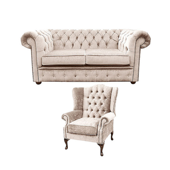 Chesterfield 2 Seater Sofa + Mallory Wing Chair Harmony Ivory Velvet Sofa Suite Offer