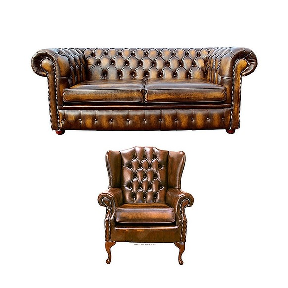 Chesterfield 2 Seater Sofa + Mallory Wing Chair Leather Sofa Suite Offer Antique Gold