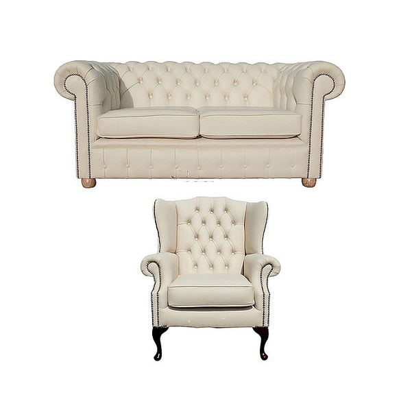 Chesterfield 2 Seater Sofa + Mallory Wing Chair Leather Sofa Suite Offer Cottonseed Cream
