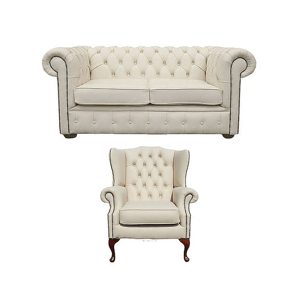 Chesterfield 2 Seater Sofa + Mallory Wing Chair Leather Sofa Suite Offer Ivory