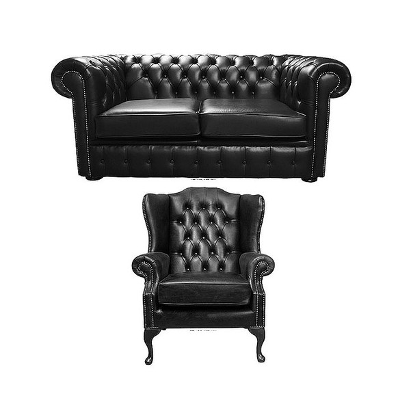 Chesterfield 2 Seater Sofa + Mallory Wing Chair Old English Black Leather Sofa Offer