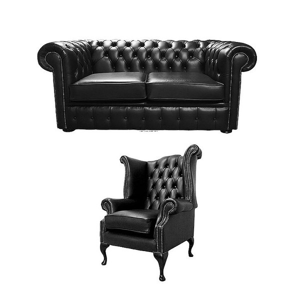 Chesterfield 2 Seater Sofa + Queen Anne Chair Old English Black Leather Sofa Offer