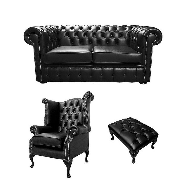 Chesterfield 2 Seater Sofa + Queen Anne Chairs + Footstool ...