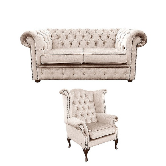 Chesterfield 2 Seater Sofa + Queen Anne Wing Chair Harmony Ivory Velvet Sofa Suite Offer