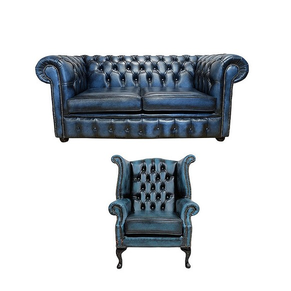 Chesterfield 2 Seater Sofa + Queen Anne Wing Chair Leather Sofa Suite Offer Antique blue