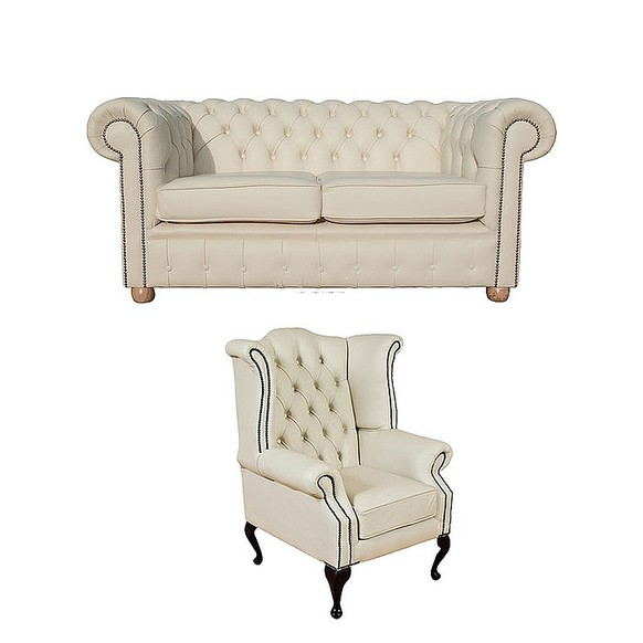 Chesterfield 2 Seater Sofa + Queen Anne Wing Chair Leather Sofa Suite Offer Cottonseed Cream