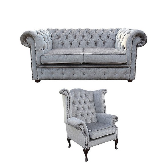 Chesterfield 2 Seater Sofa + Queen Anne Wing Chair Perla Illusions Velvet Sofa Suite Offer
