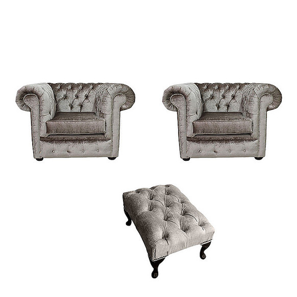 Chesterfield 2 x Club Chairs + Footstool Boutique Beige Velvet Sofa Suite Offer
