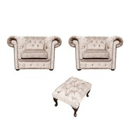 Chesterfield 2 x Club chairs + Footstool Harmony Ivory Velvet Sofa Suite Offer
