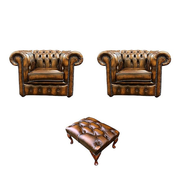 Chesterfield 2 x Club Chairs + Footstool Leather Sofa Suite Offer Antique Gold