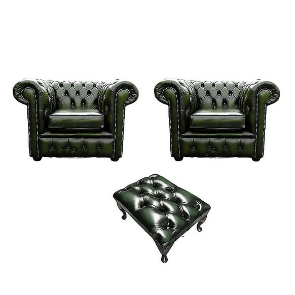 Chesterfield 2 x Club Chairs + Footstool Leather Sofa Suite Offer Antique Green