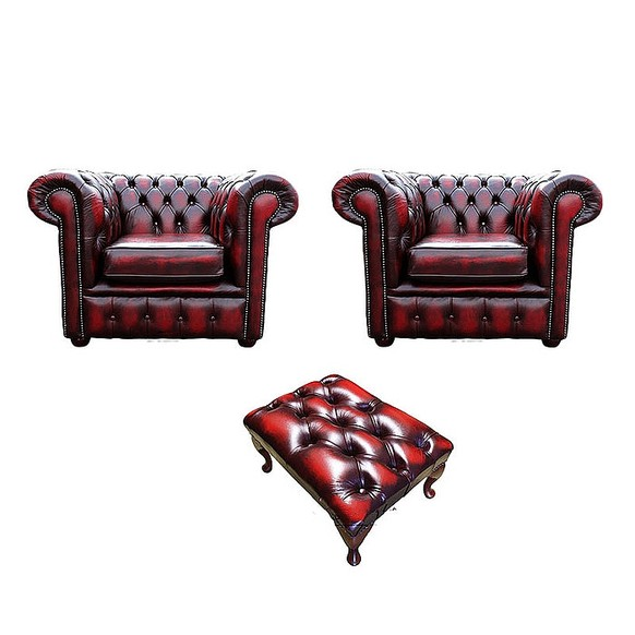 Chesterfield 2 x Club Chairs + Footstool Leather Sofa Suite Offer Antique Oxblood