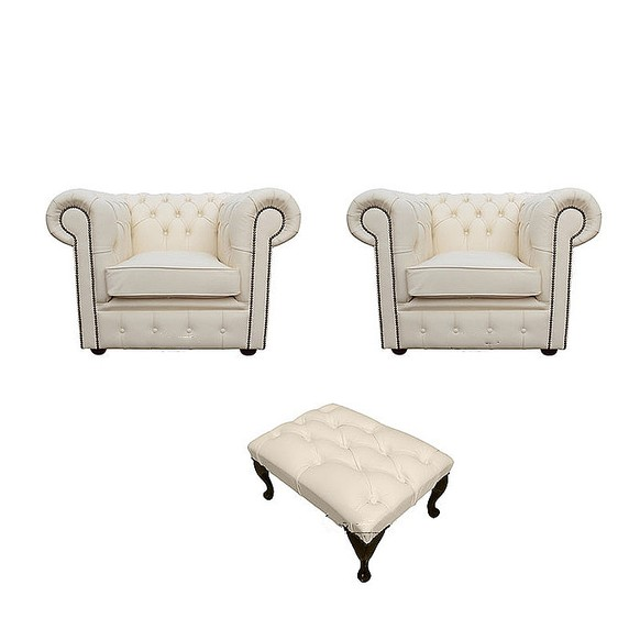 Chesterfield 2 x Club Chairs + Footstool Leather Sofa Suite Offer Cottonseed Cream