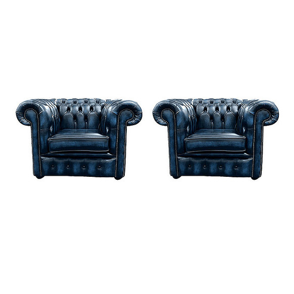 Chesterfield 2 x Club Chairs Leather Sofa Suite Offer Antique blue