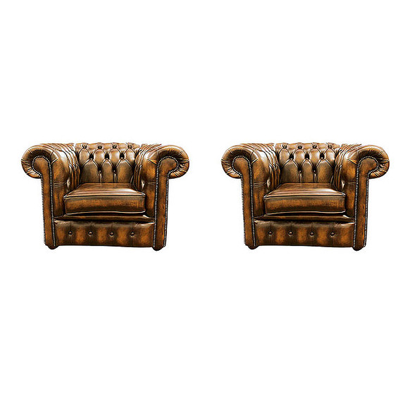 Chesterfield 2 x Club Chairs Leather Sofa Suite Offer Antique Gold