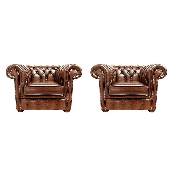 Chesterfield 2 x Club Chairs Leather Sofa Suite Offer Antique Tan