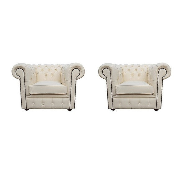 Chesterfield 2 x Club Chairs Leather Sofa Suite Offer Ivory