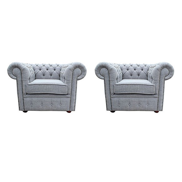 Chesterfield 2 x Club chairs Verity Plain Steel Fabric Sofa Suite Offer