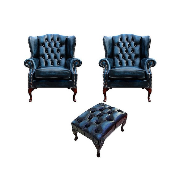 Chesterfield 2 x Mallory Wing Chair + Footstool Leather Sofa Suite Offer Antique Blue