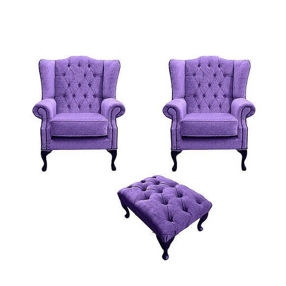 Chesterfield 2 x Mallory Wing chairs + Footstool Verity Purple Fabric Sofa Suite Offer
