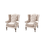 Chesterfield 2 x Mallory Wing Chairs Harmony Ivory Velvet Sofa Suite Offer