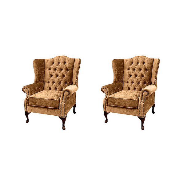 Chesterfield 2 x Mallory Wing Chairs Velvet Sofa Suite Offer