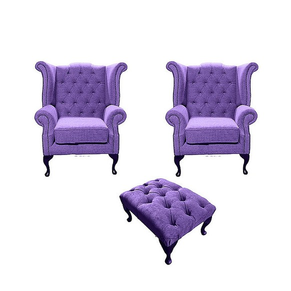 Chesterfield 2 x Queen Anne Chairs + Footstool Verity Purple Fabric Sofa Suite Offer
